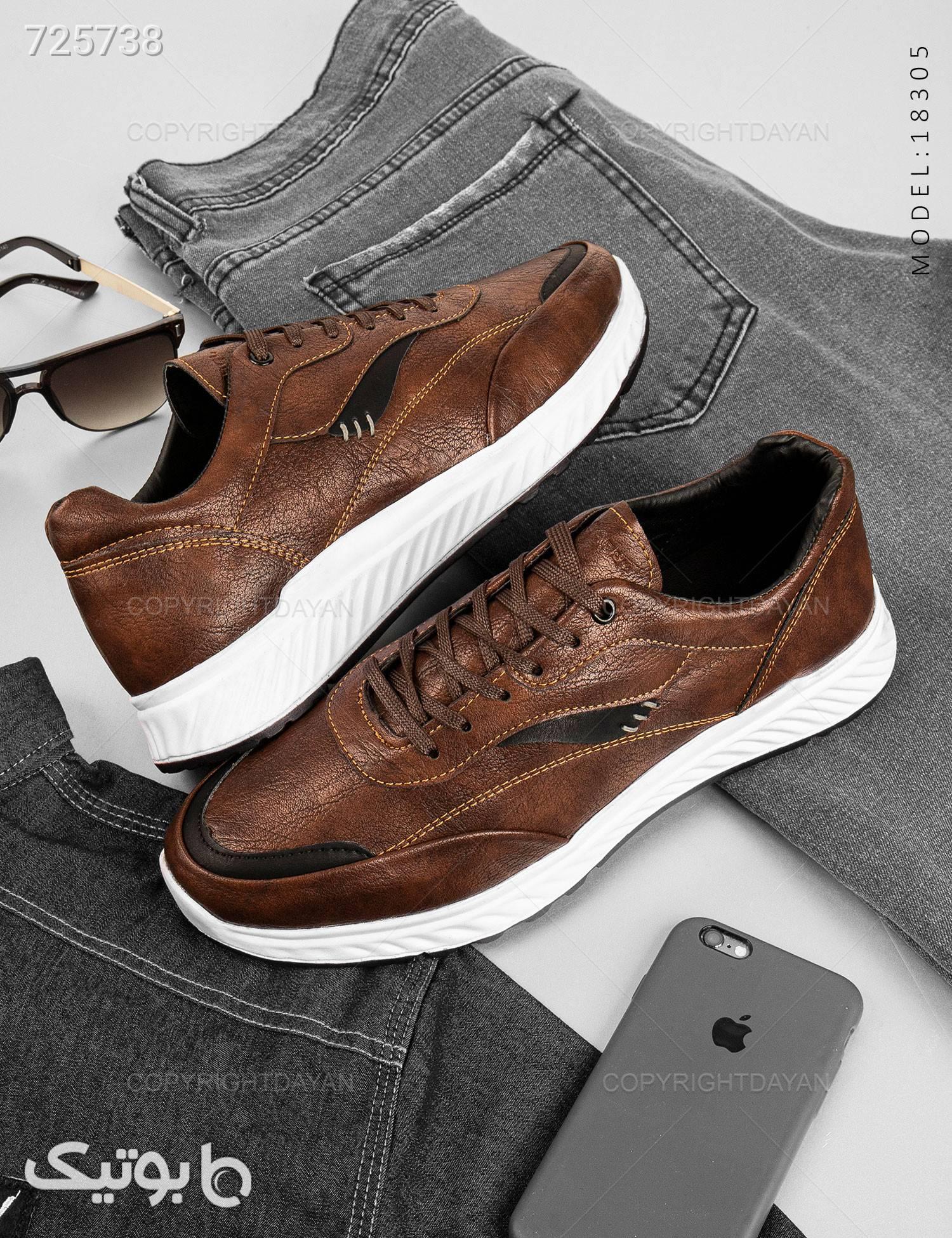 کفش چرم مردانه  قهوه ای كفش مردانه