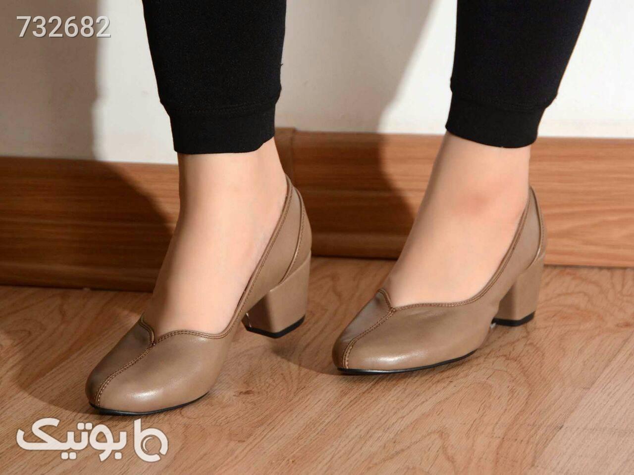 کفش پاشنه 4 سانت قهوه ای كفش پاشنه بلند زنانه