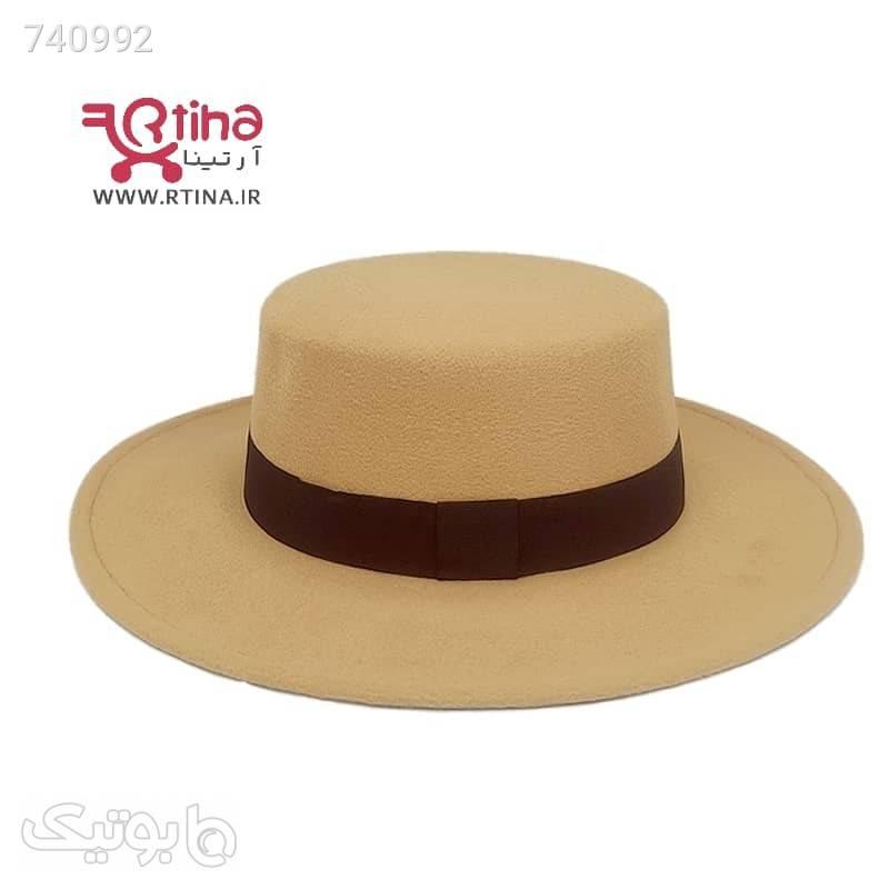 کلاه فدورا رنگ شتری کلاه گرد نمدی مدل RTH01 کرم کلاه و اسکارف