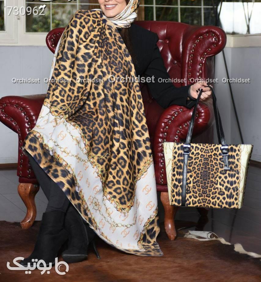 ست کیف و روسری زرد كيف زنانه