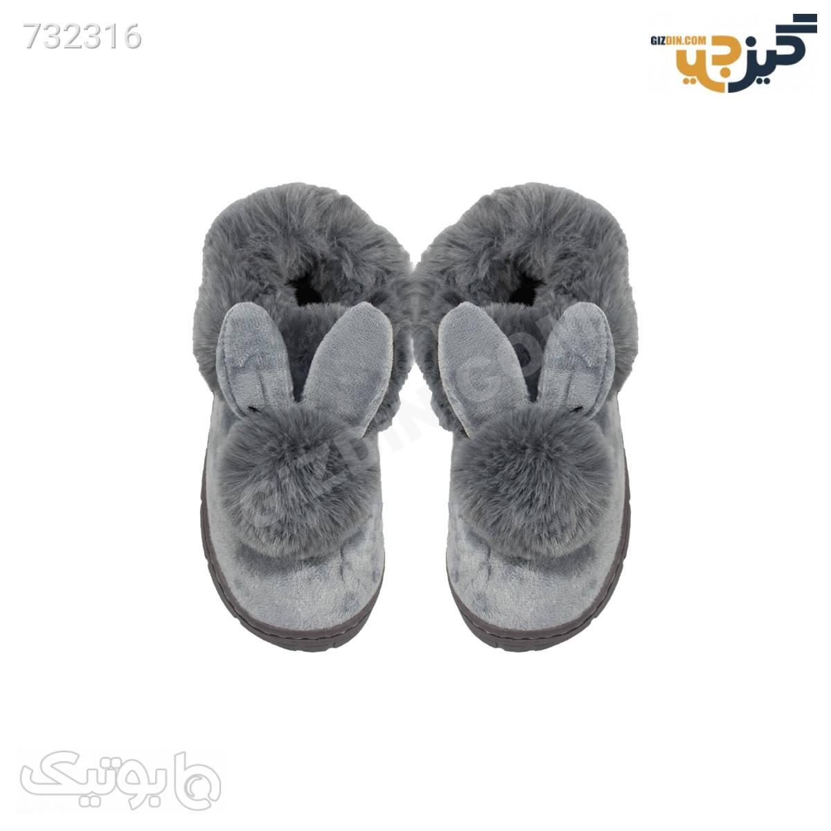 کفش عروسکی طرح خرگوش خزدار کد p103 مشکی کیف و کفش بچگانه
