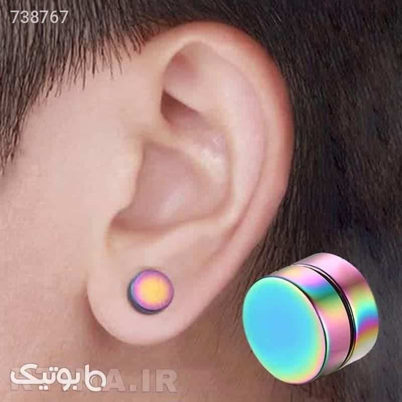 گوشواره ساده مردانه آهنربایی هفت رنگ مدل GF8 نقره ای گوشواره
