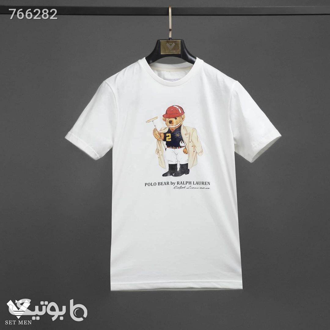 تیشرت یقه گرد سفید تی شرت و پولو شرت مردانه