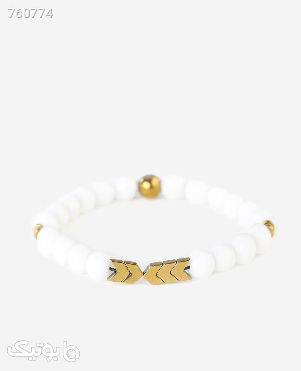 دستبند مهره ای طر ح فلش سفید دستبند و پابند