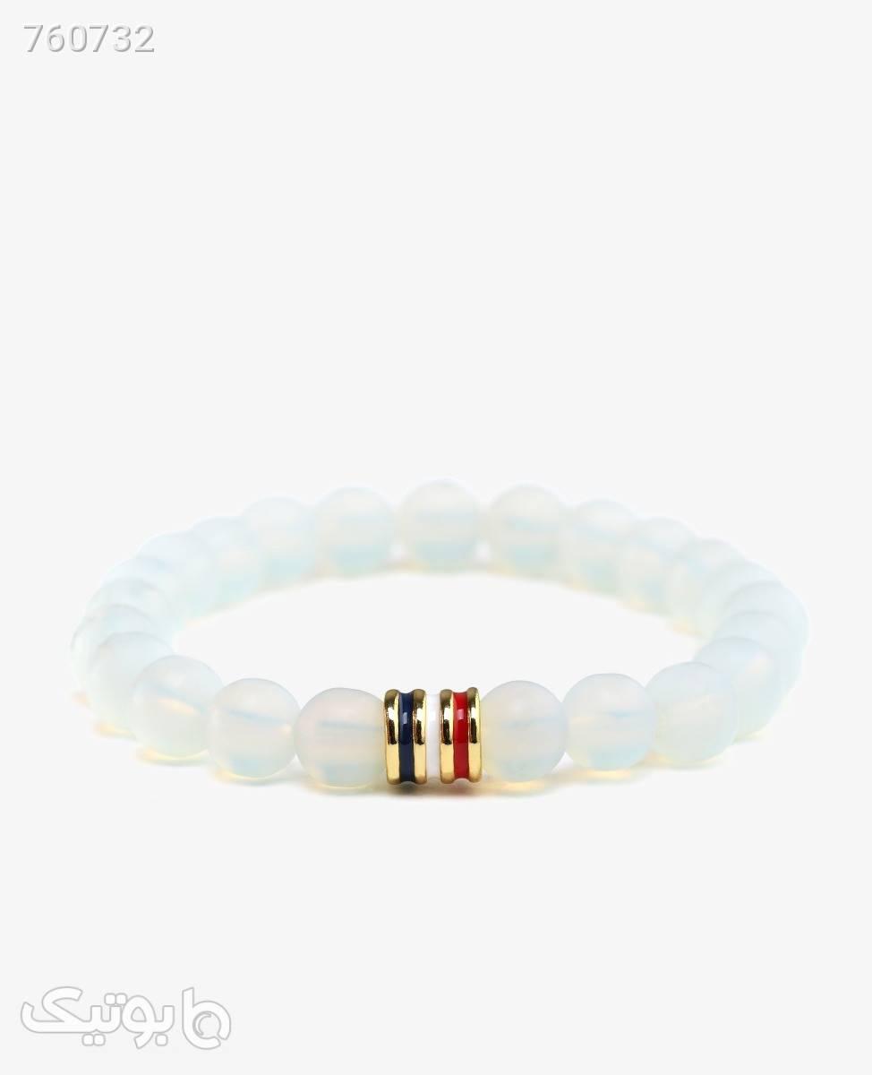 دستبند مهره ای پلاک دار مدل 8117 سفید دستبند و پابند