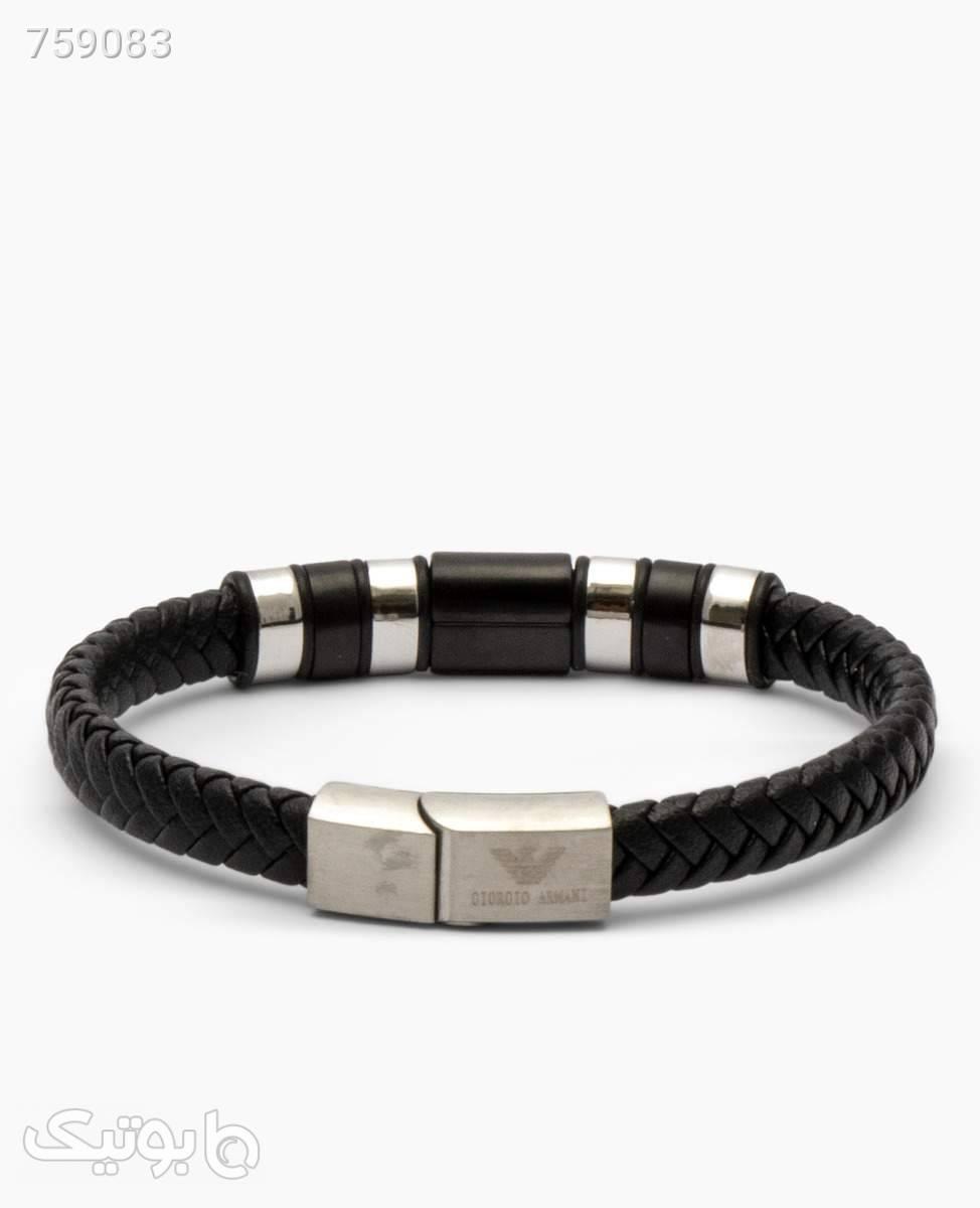 دستبند چرم مردانه Armani مدل 2153Black Silver مشکی دستبند و پابند