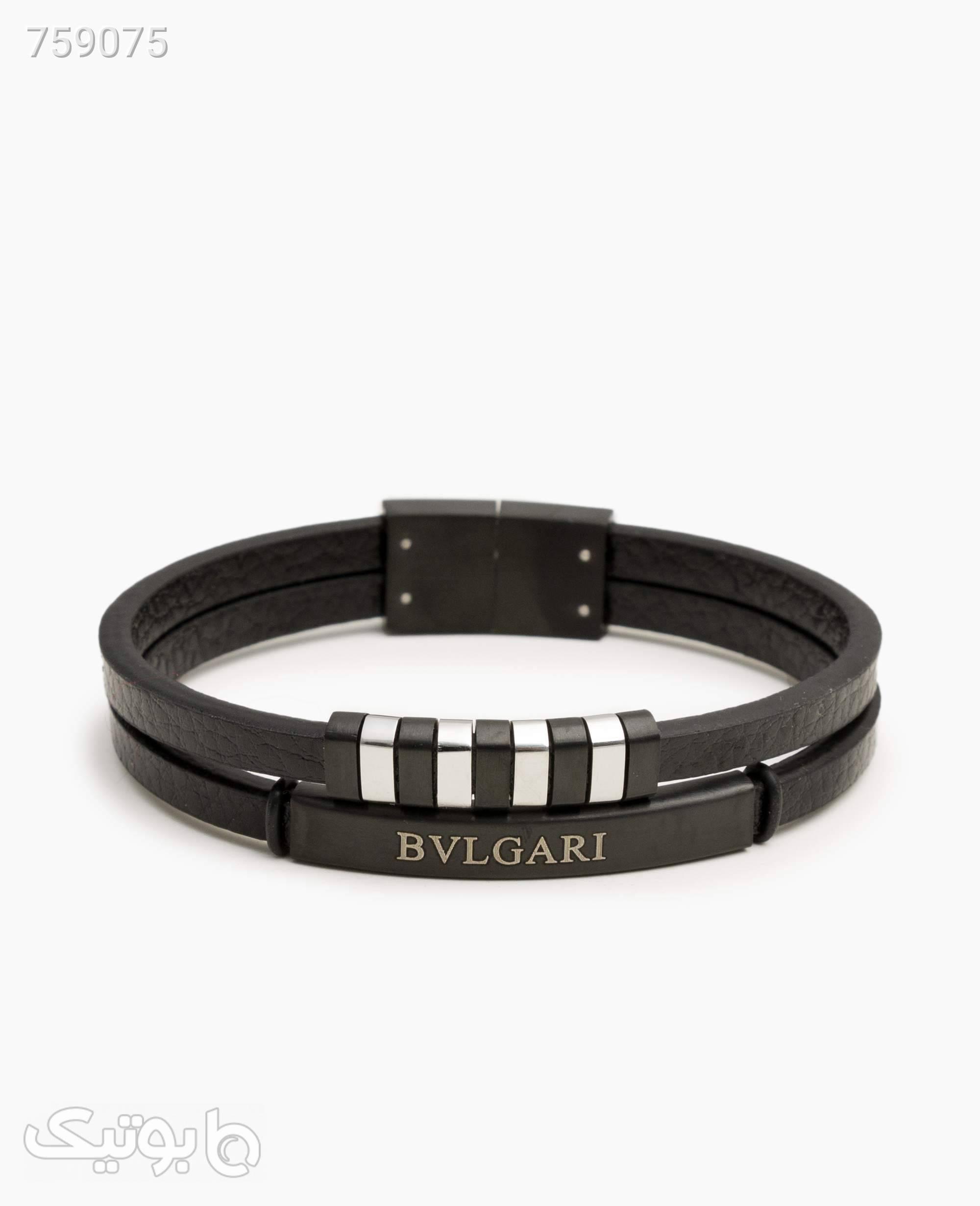 دستبند چرم Bulgari مردانه کد 7961Black مشکی دستبند و پابند