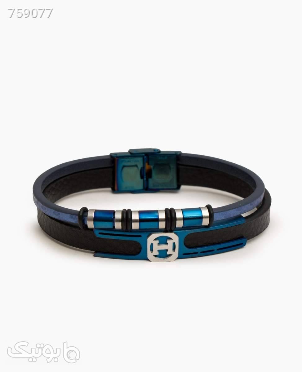 دستبند چرم Hermes مردانه کد 9963Black Blue مشکی دستبند و پابند