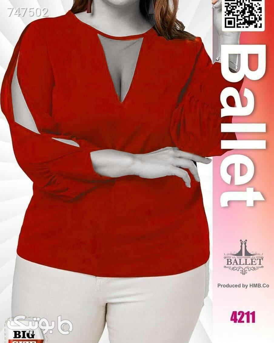 بلوز مجلسی بیگ قرمز سایز بزرگ زنانه