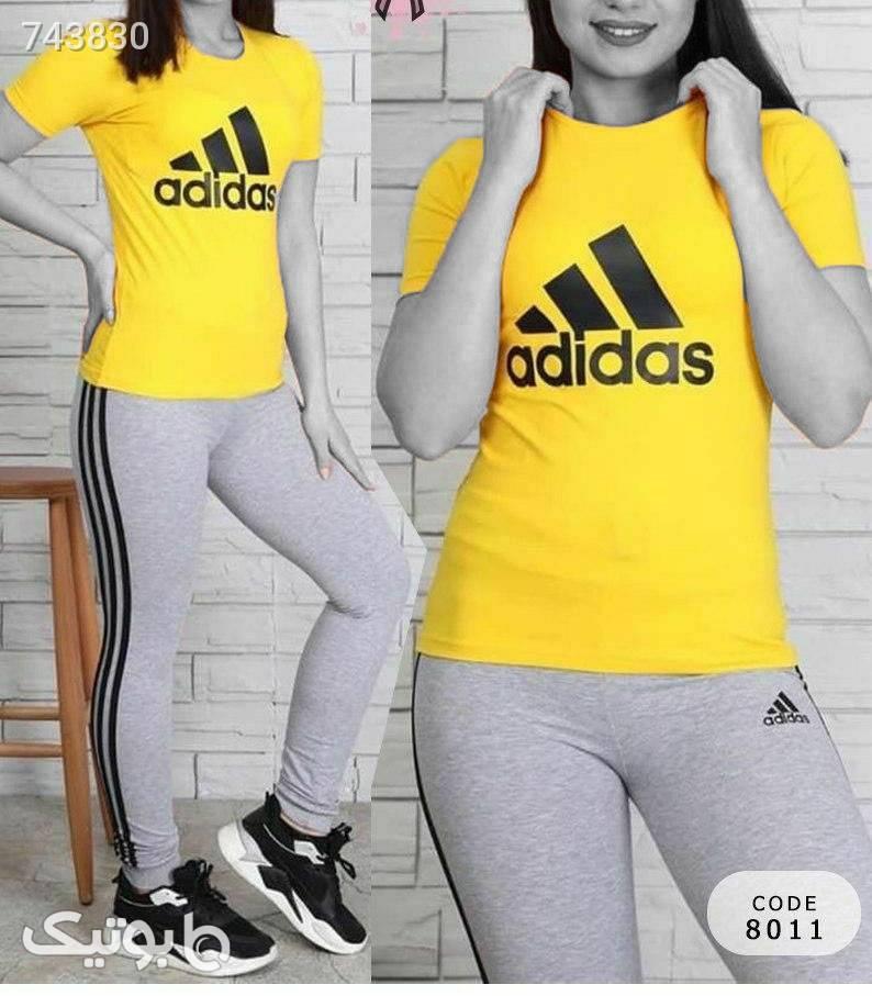 ست تیشرت شلوارورزشی شیک وجذاب  زرد ست ورزشی زنانه