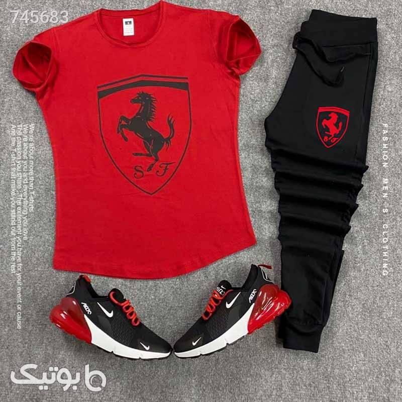 ست تیشرت و شلوار Ferrari مشکی ست ورزشی مردانه