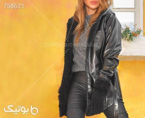 هودي چرم دخترانه مدل VIONA مشکی سوئیشرت زنانه