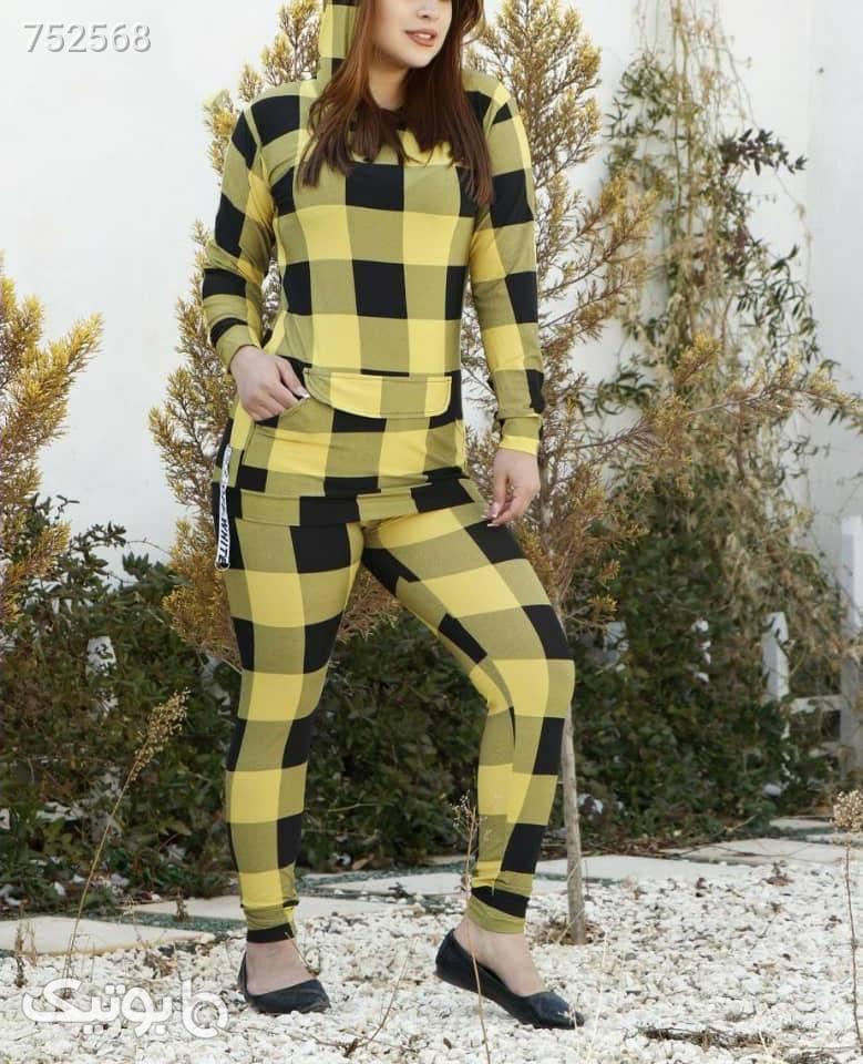 هودی شلوار چارخونه زرد سوئیشرت زنانه