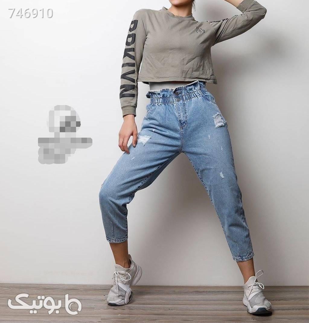 شلوار جین مام استایل  آبی شلوار جین زنانه