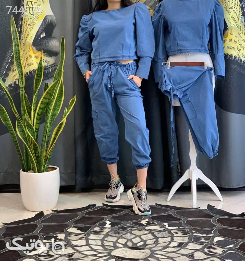 شومیز و شلوار لی کاغذی آبی شلوار جین زنانه