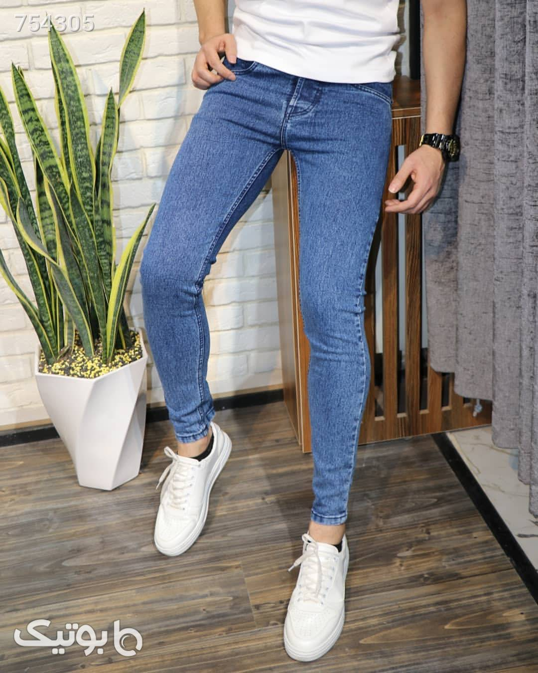 شلوار جین پارچه ترک آبی شلوار جین مردانه