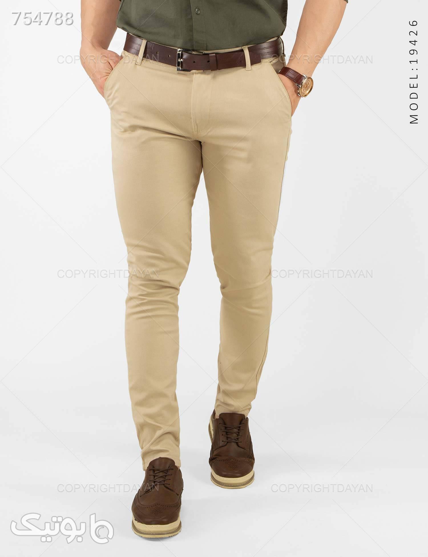 شلوار مردانه Alvin مدل 19426 کرم شلوار مردانه پارچه ای و کتان مردانه