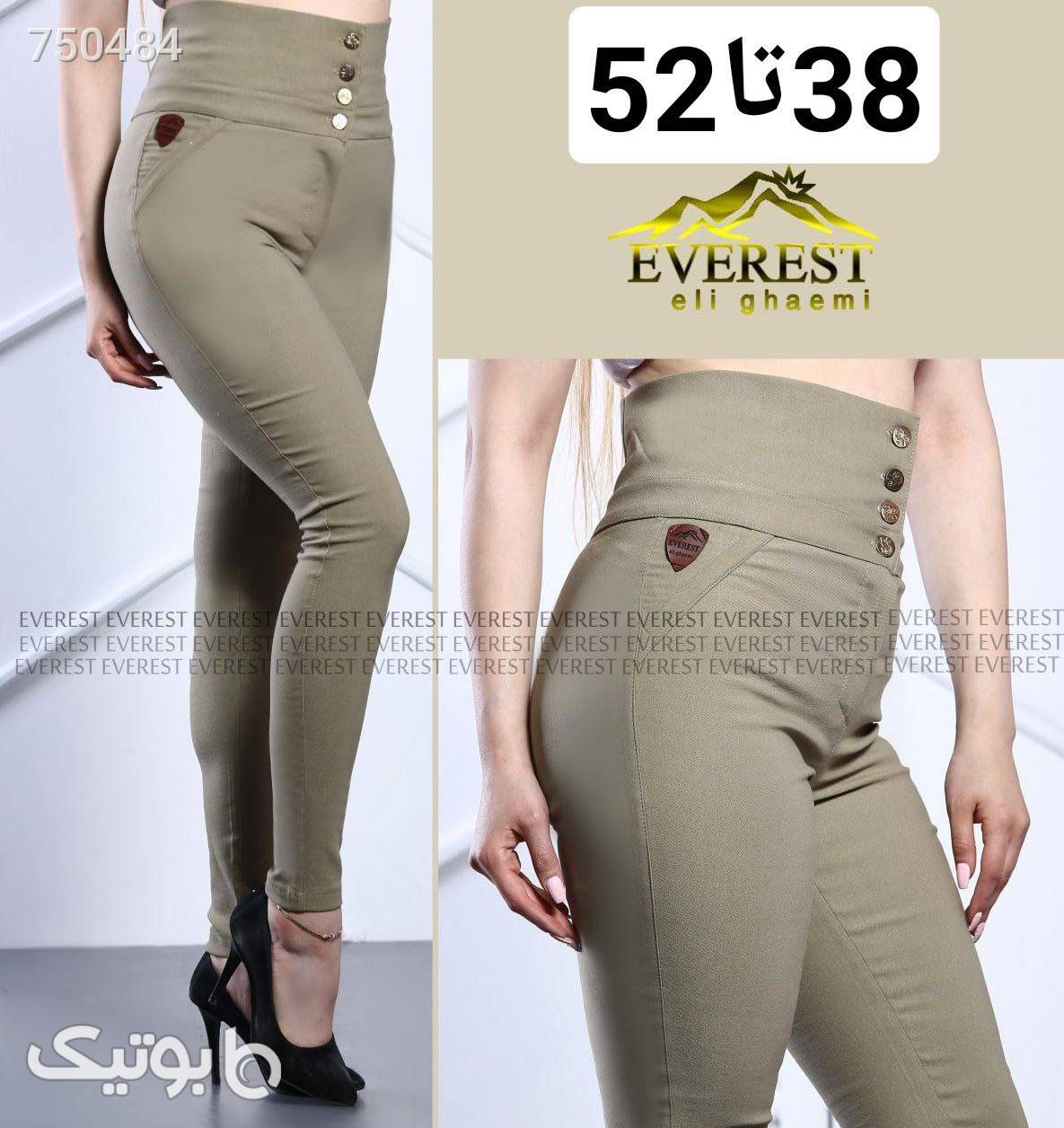 شلوار زنانه کتان کش فاق بلند سبز شلوار پارچه ای و کتانی زنانه