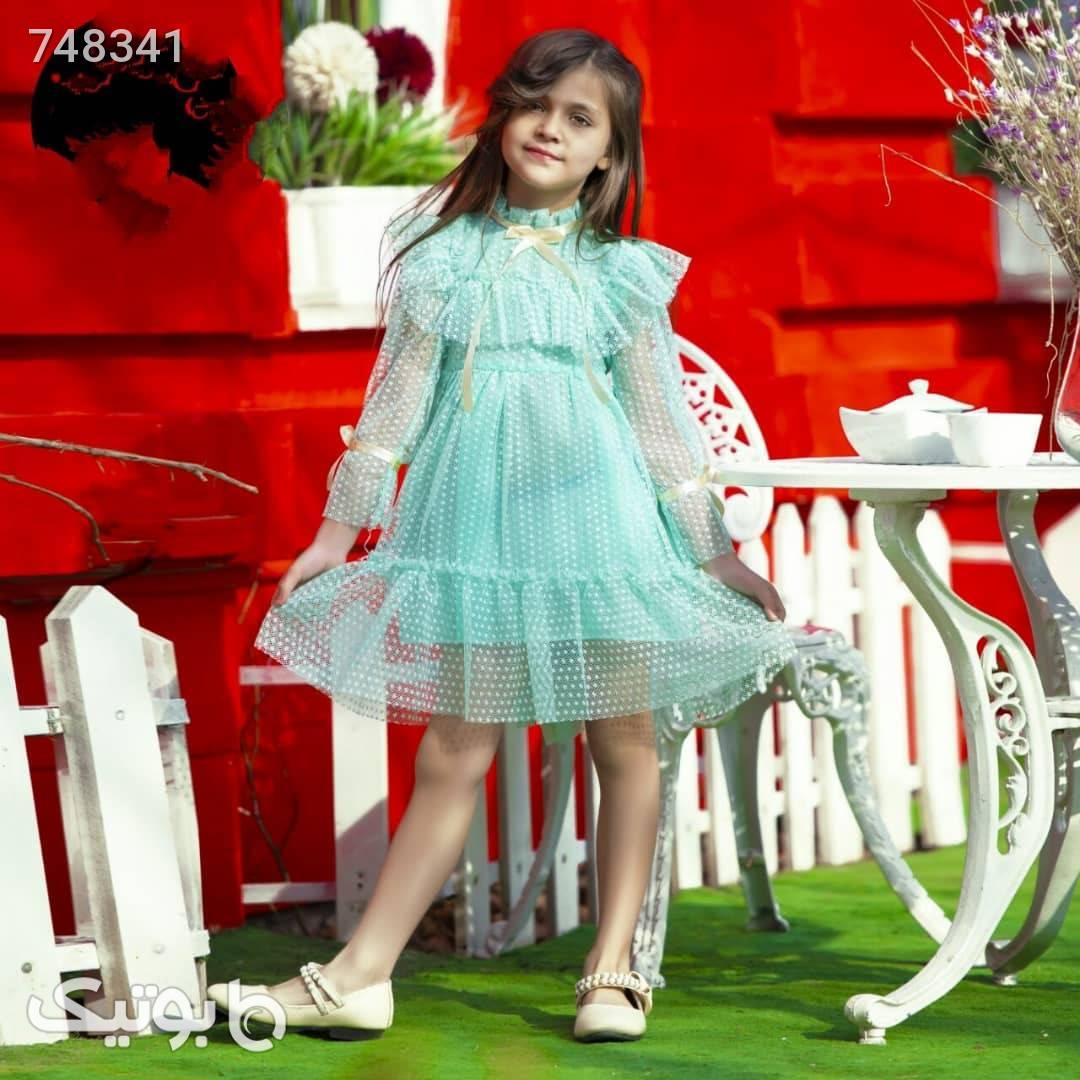 سارافون توری سبز لباس کودک دخترانه
