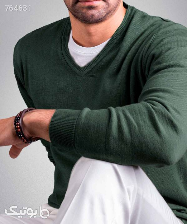 پلیور یقه هفت مردانه کروم Corum کد 2021001 سبز پليور و ژاکت مردانه
