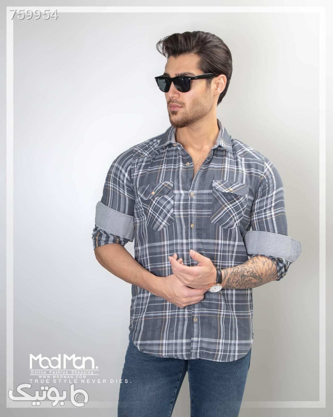 پیراهن چهارخانه مردانه فیروزه ای پيراهن مردانه