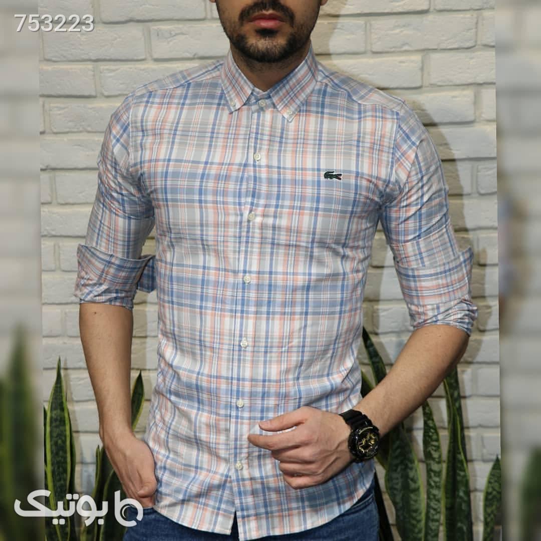 پیراهن چهارخانه آبی پيراهن مردانه