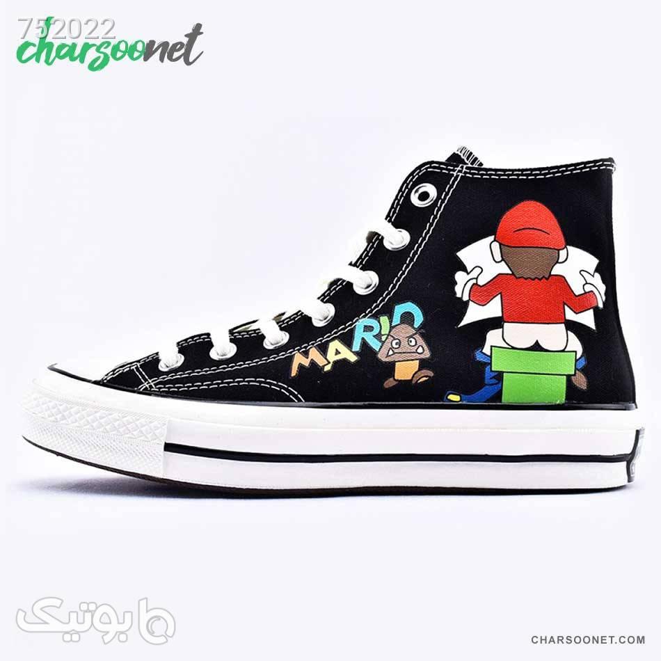 کفش کانورس ساقدار مدل سوپر ماریو Converse Super Mario مشکی كتانی مردانه