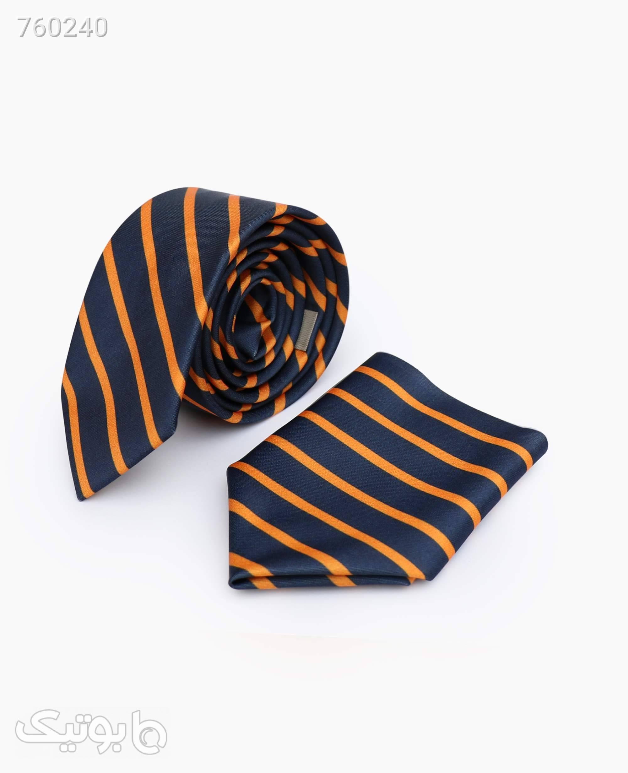 ست کراوات و پوشت طرح دار کد 1568Blue مشکی كراوات و پاپيون