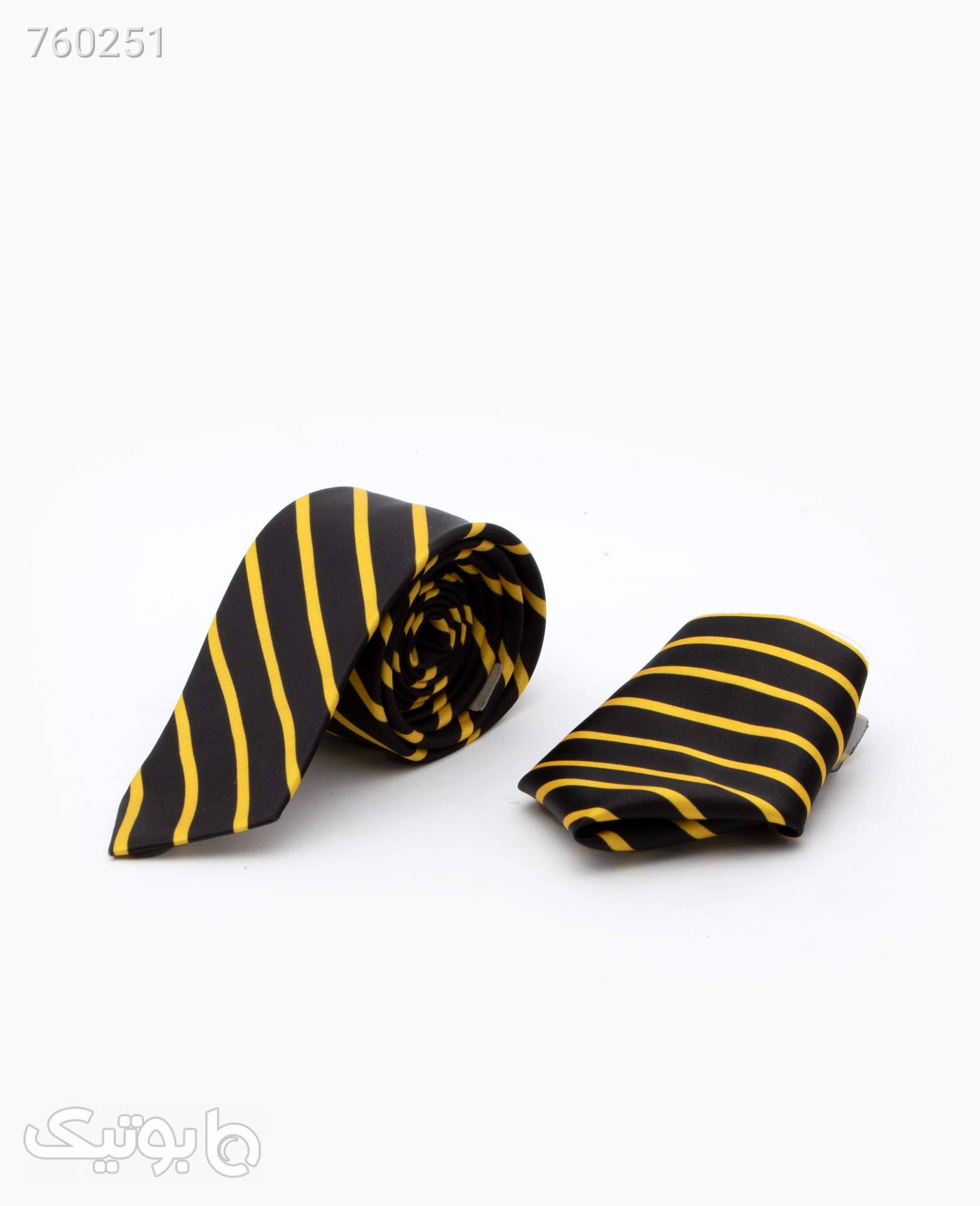 ست کراوات و پوشت طرح دار کد 3974Black Yellow مشکی كراوات و پاپيون