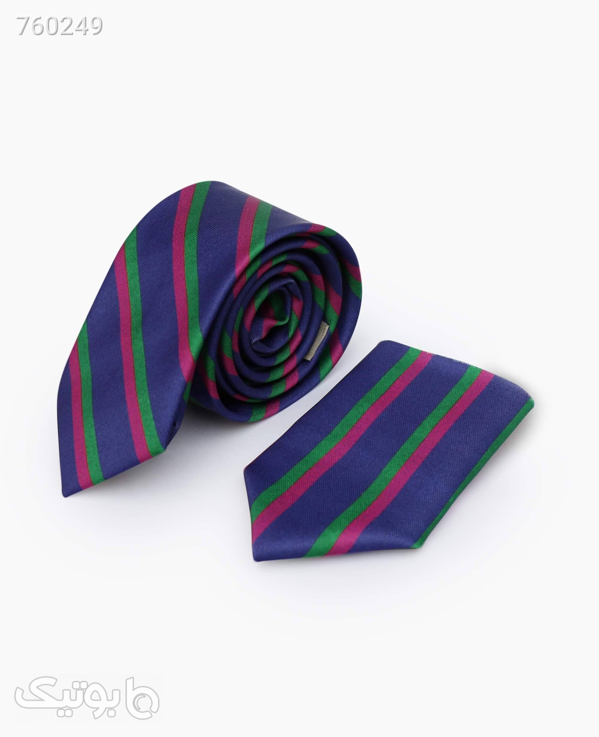 ست کراوات و پوشت طرح دار کد 5758DarkBlue سورمه ای كراوات و پاپيون