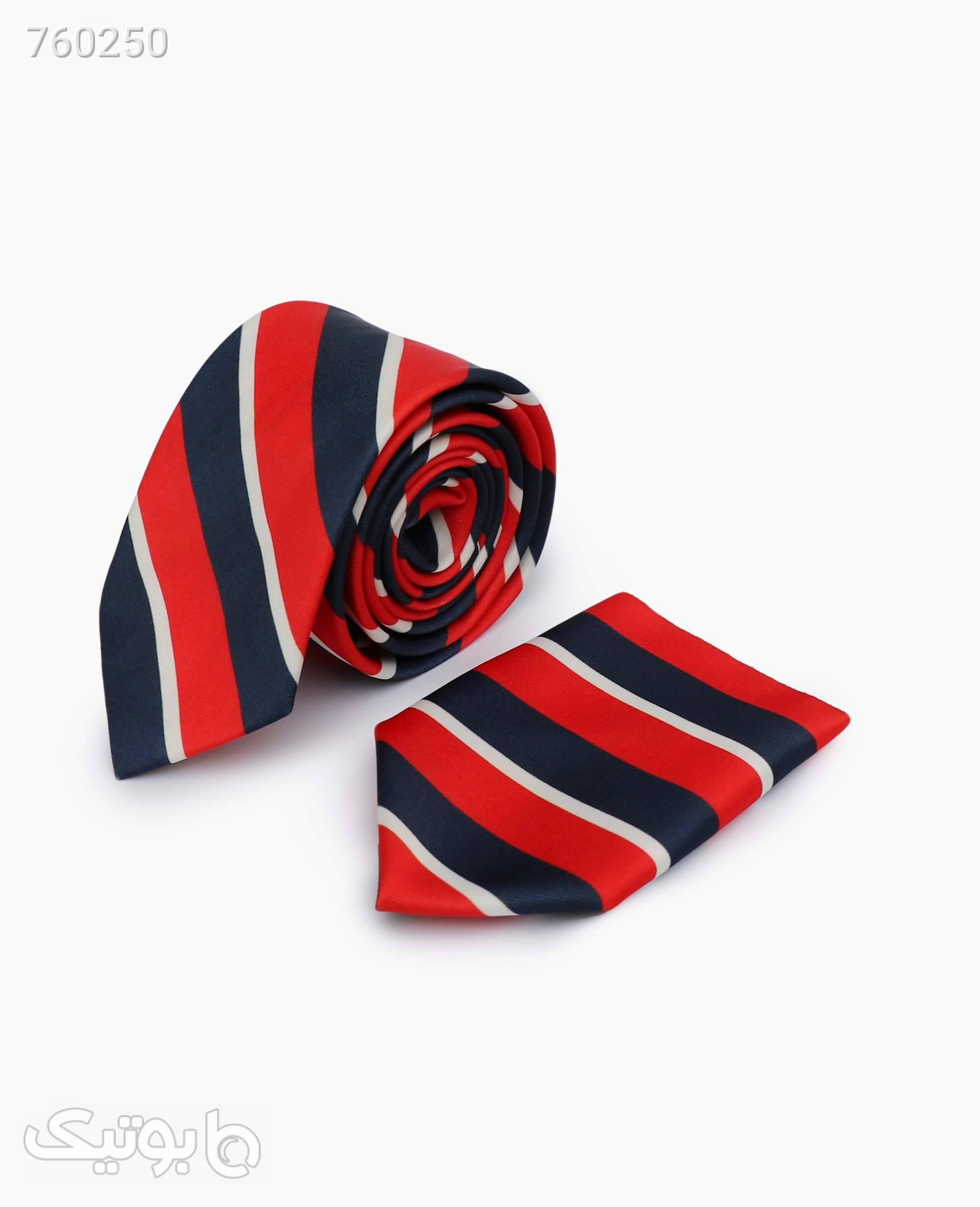 ست کراوات و پوشت طرح دار کد 5759Darkblue Red قرمز كراوات و پاپيون
