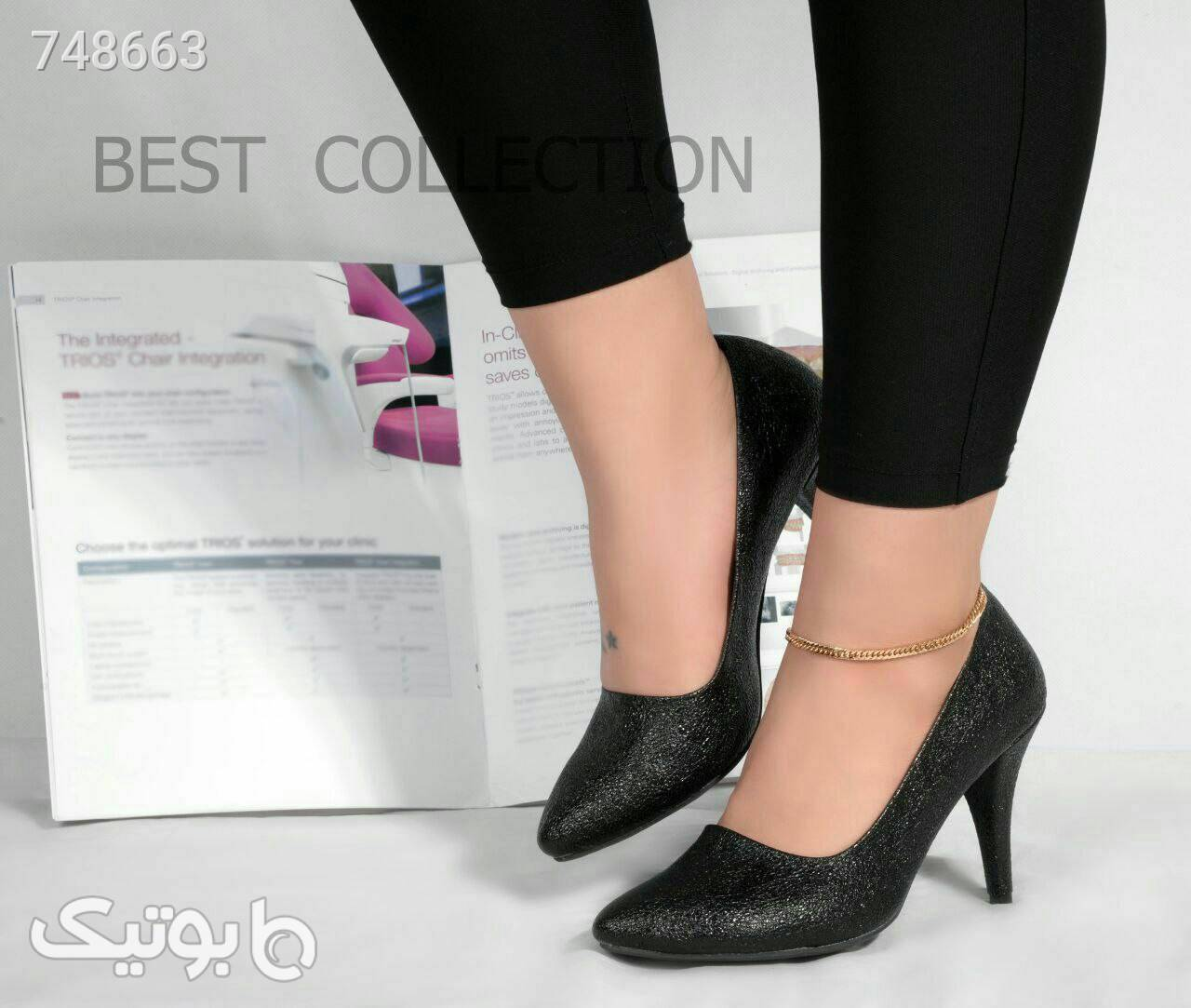 کفش زنانه استلتو لمه پاشنه ۷سانت مشکی كفش پاشنه بلند زنانه
