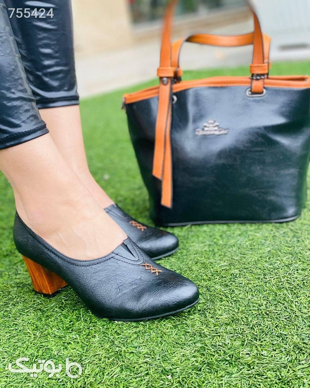 کفش زنانه چرم بسیار با کیفیت و شیک مشکی كفش پاشنه بلند زنانه