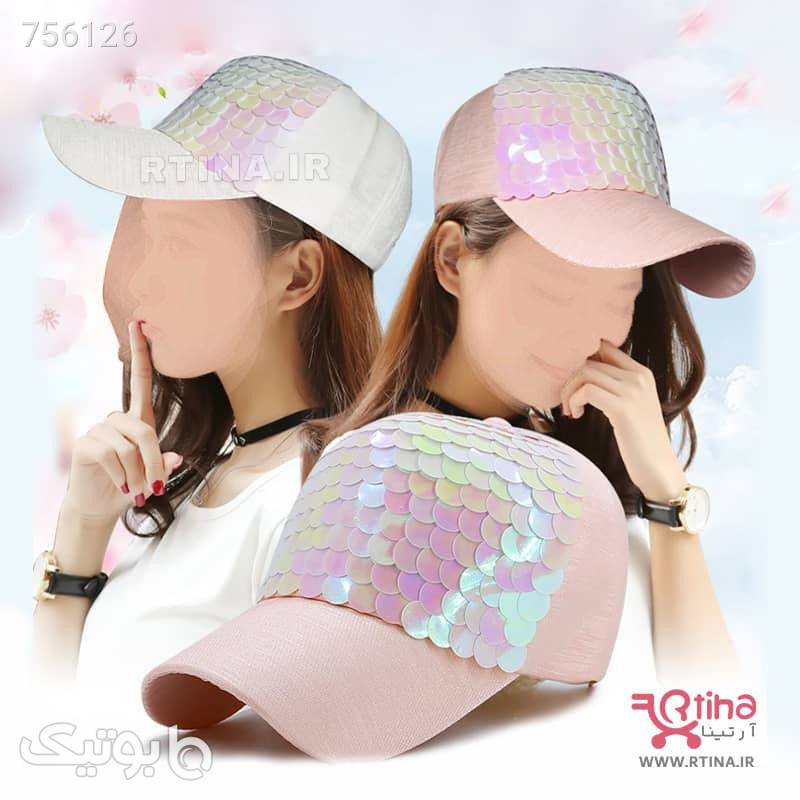 مدل جدید کلاه کپ دخترانه پولکی سفید کلاه و اسکارف