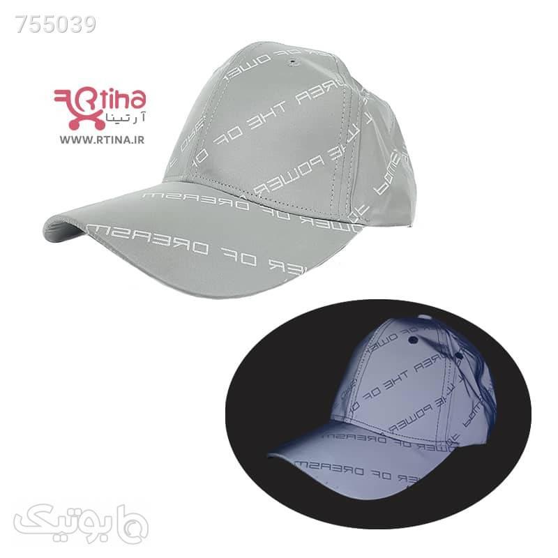 کلاه کپ خارجی اسپرت مدل شب نما طوسی کلاه و اسکارف