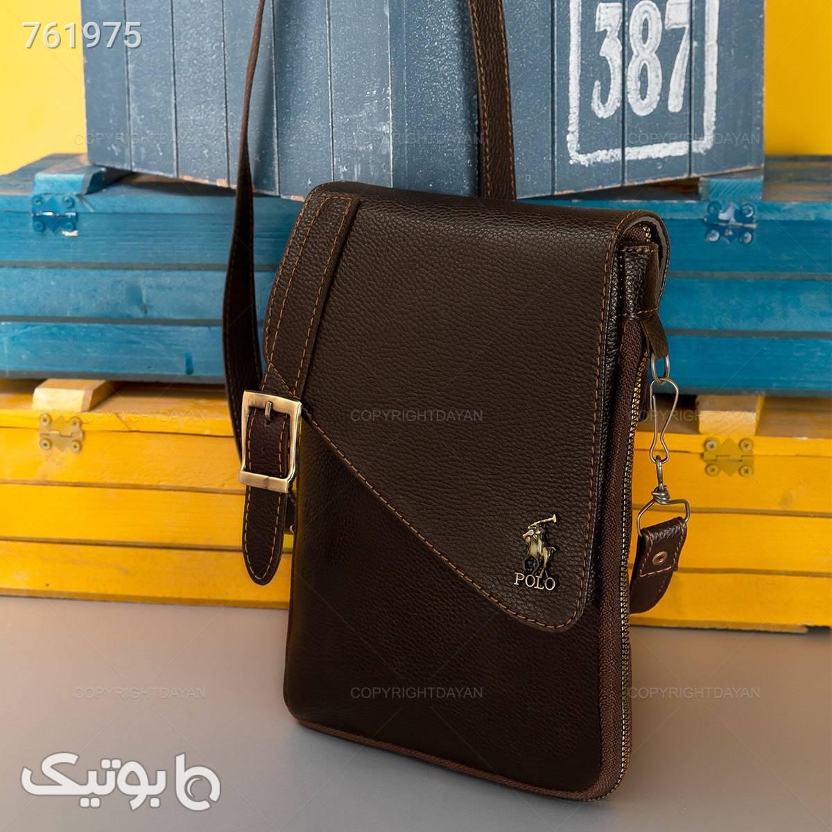 حراج کیف چرمی پولو  قهوه ای كيف مردانه