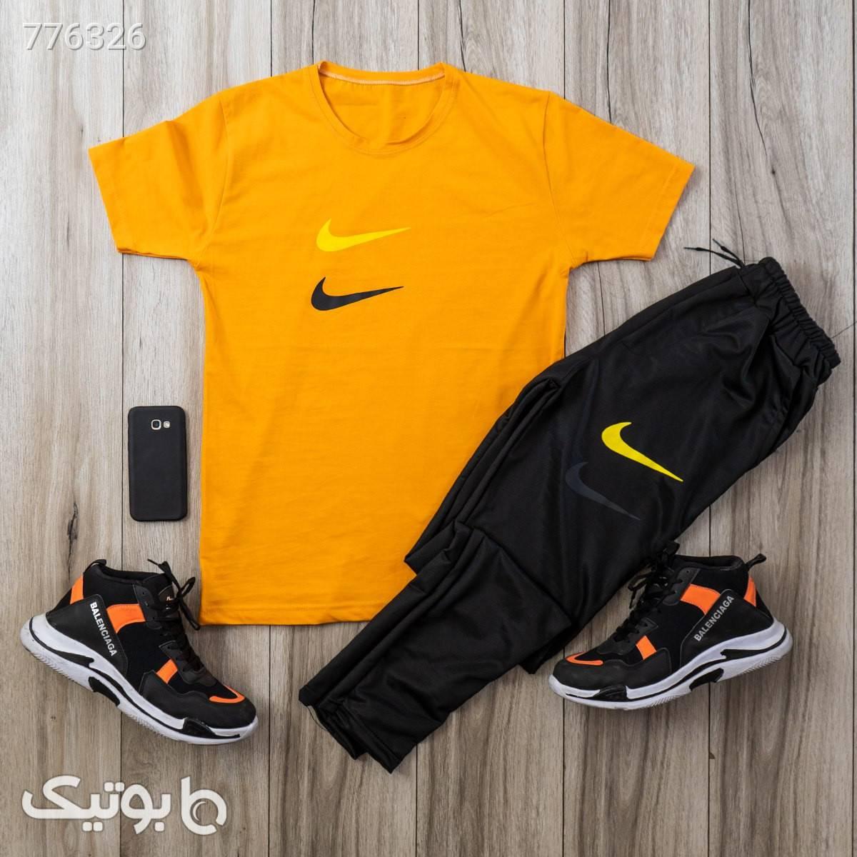 ست تيشرت شلوار Nike مردانه مدل Dandy زرد تی شرت و پولو شرت مردانه