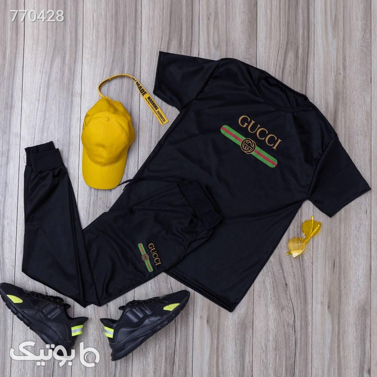 ست تيشرت شلوارGUCCI مردانه مدل Ekan مشکی تی شرت و پولو شرت مردانه