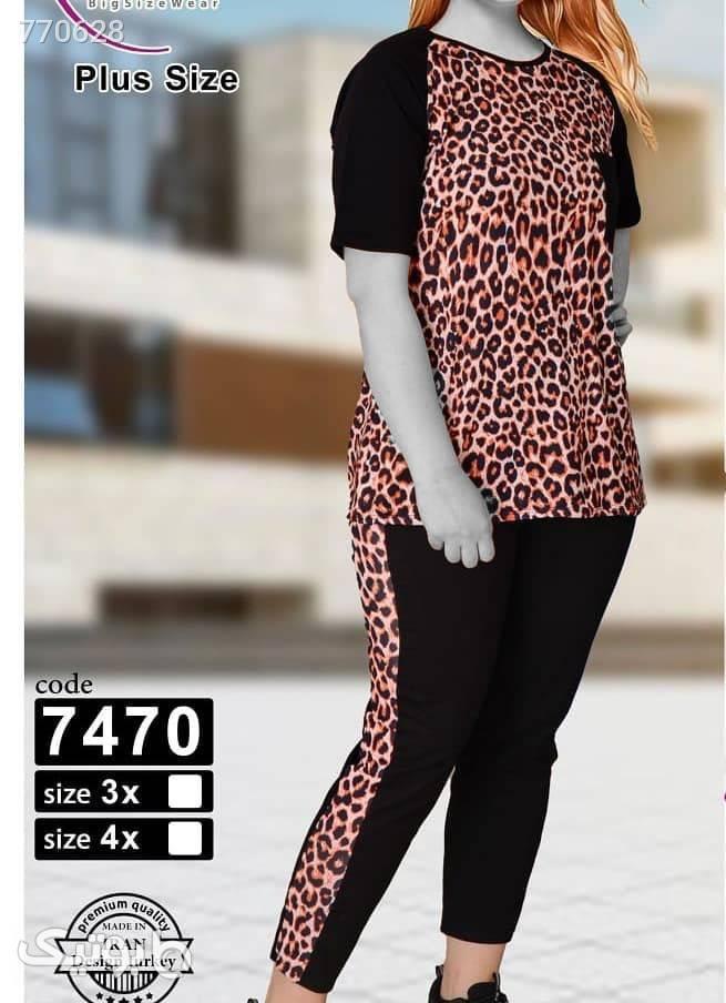 ست راحتی تیشرت و شلوار اسپرت پلنگی کد 7470 قهوه ای سایز بزرگ زنانه