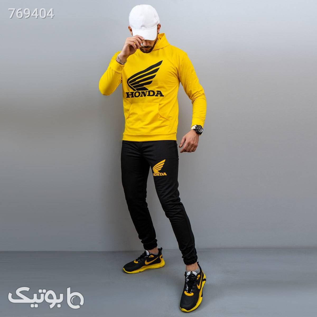 ست تيشرت شلوار HONDA مردانه مدل  KASON زرد ست ورزشی مردانه