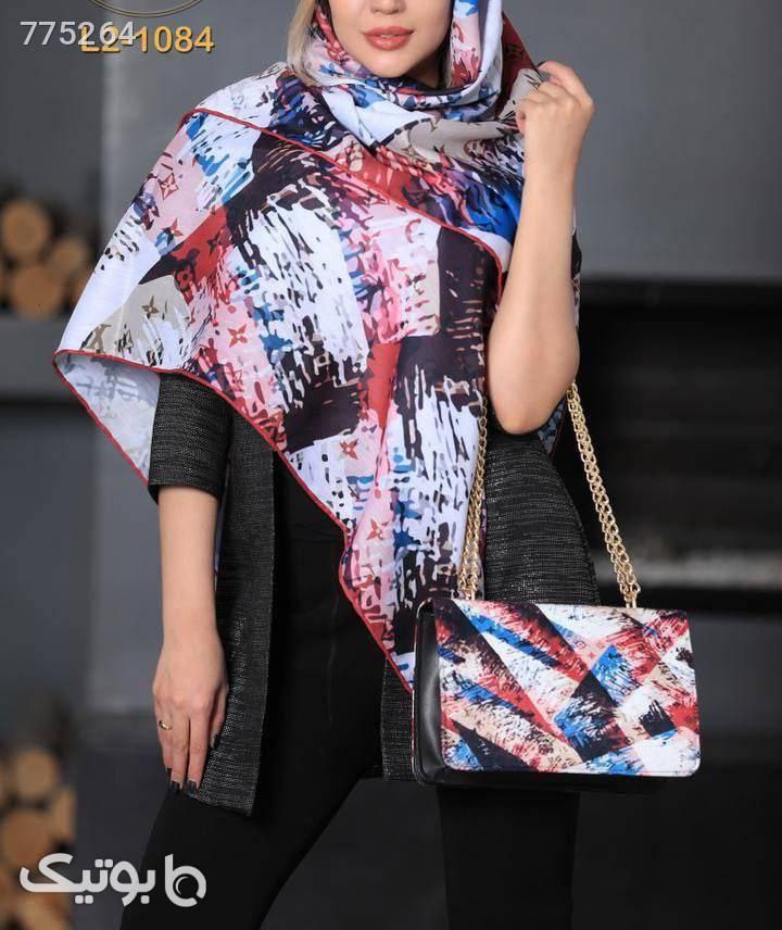 ست کیف و روسری آبی شال و روسری