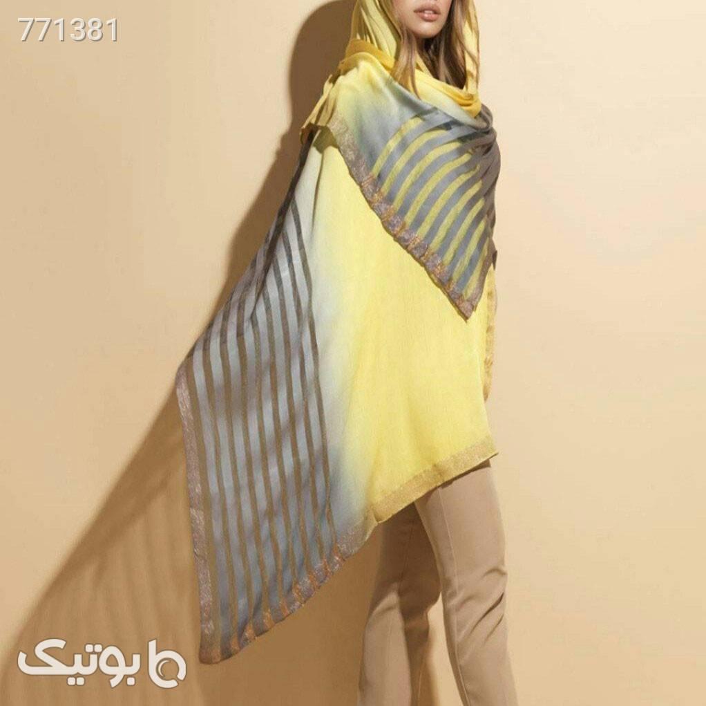 شال ابریشمی رنگ سال زرد شال و روسری