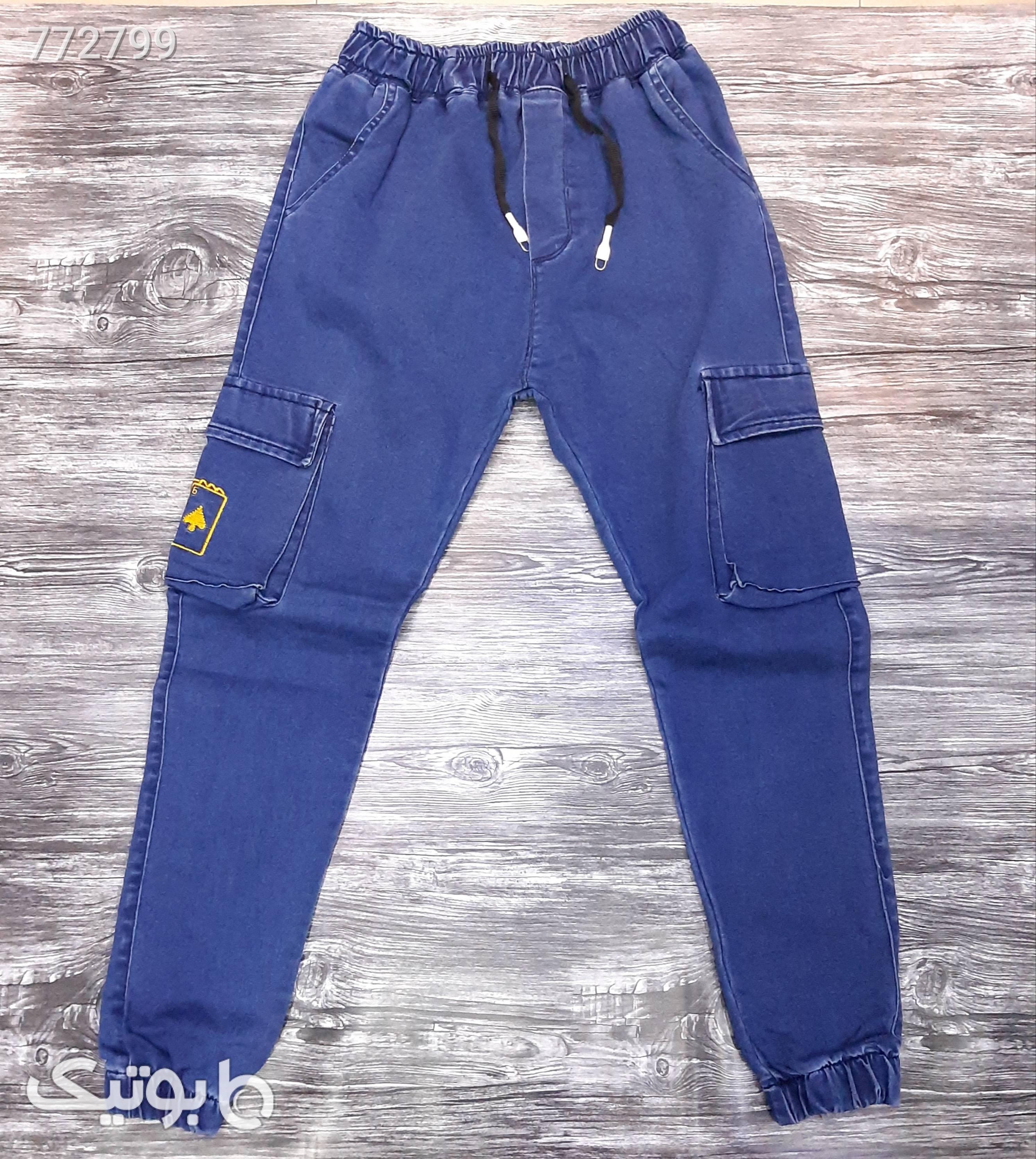 شلوار اسلش لی پارچه پنبه ترک آبی شلوار جین مردانه
