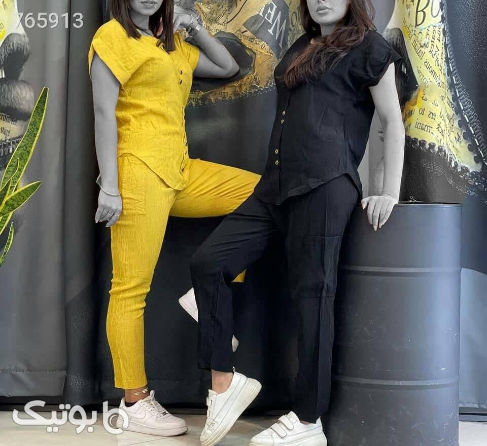 ست بلوز و شلوار زنانه  زرد لباس راحتی زنانه