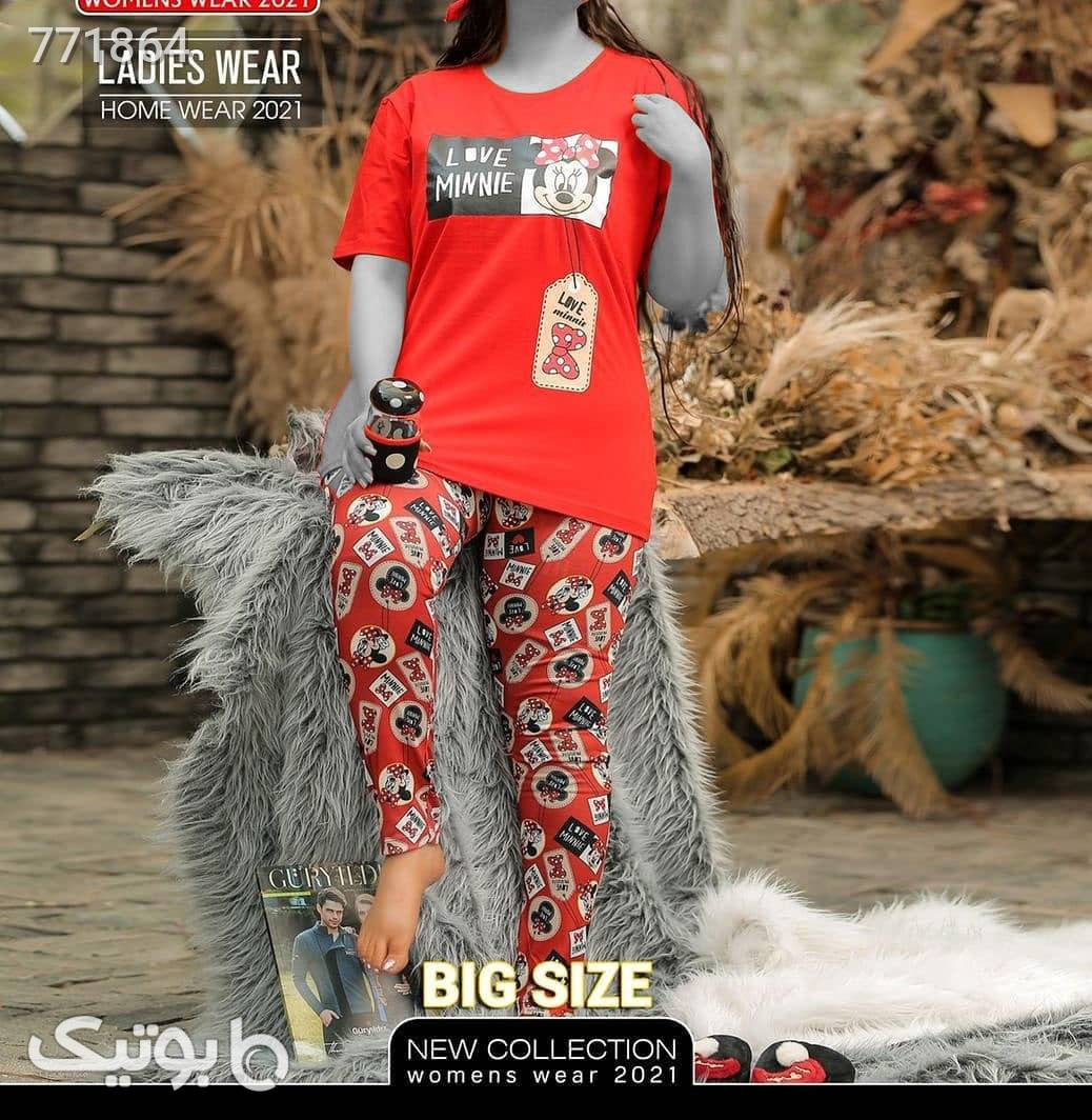 ست تیشرت و شلوار زنانه  قرمز لباس راحتی زنانه