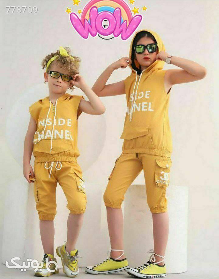 ست خواهر و برادر ورساچ تاپ شلوارک زرد لباس کودک دخترانه