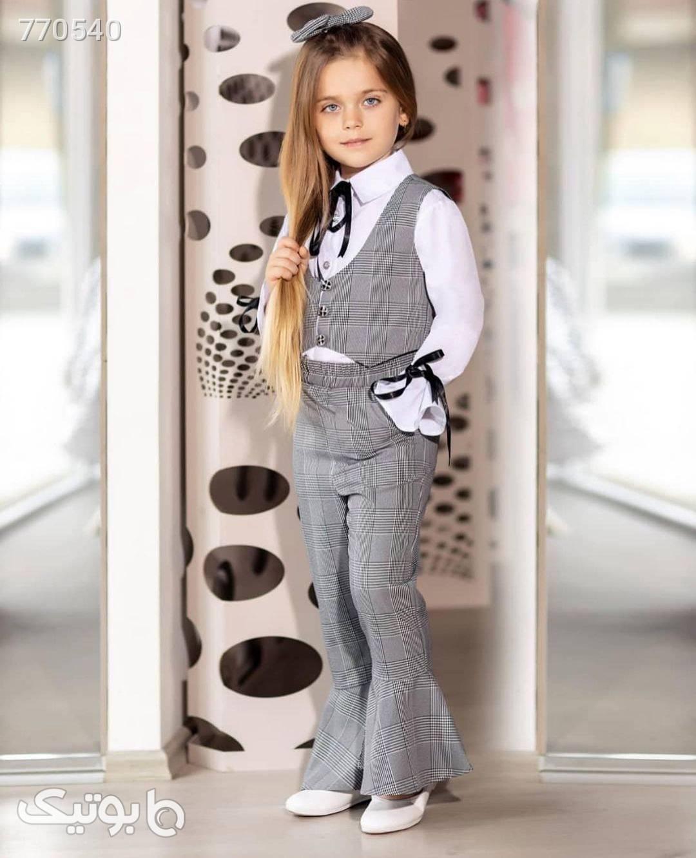 ست دخترانه جلیقه و شلوارو بلوز نقره ای لباس کودک دخترانه