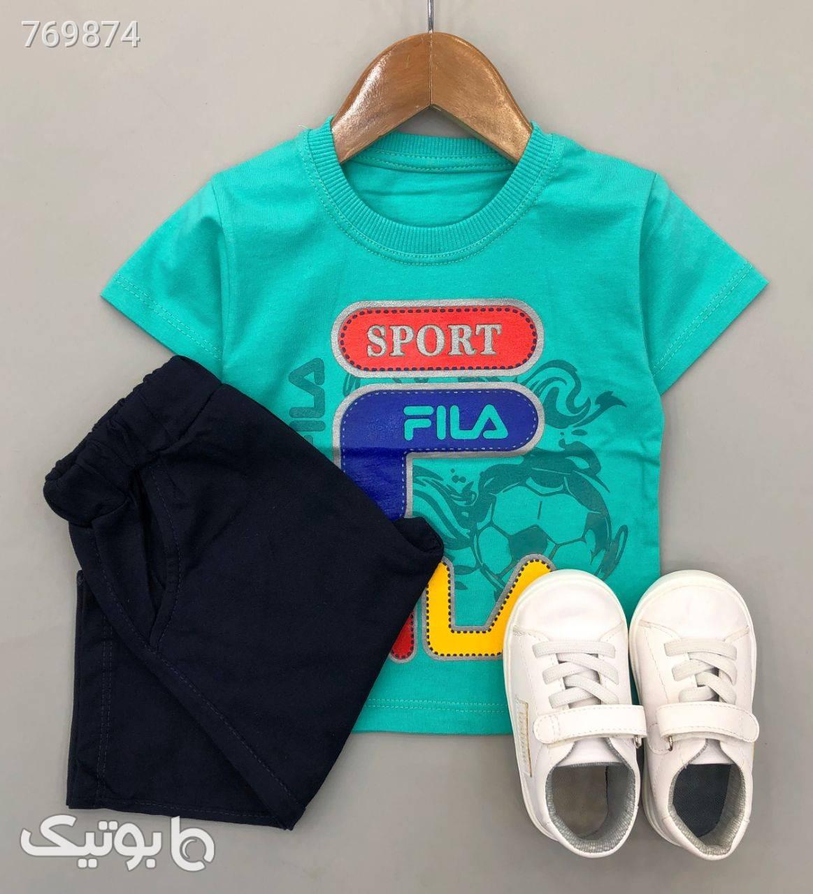 بلوز شلوارک sport fila پسرانه شیک سبز لباس کودک پسرانه