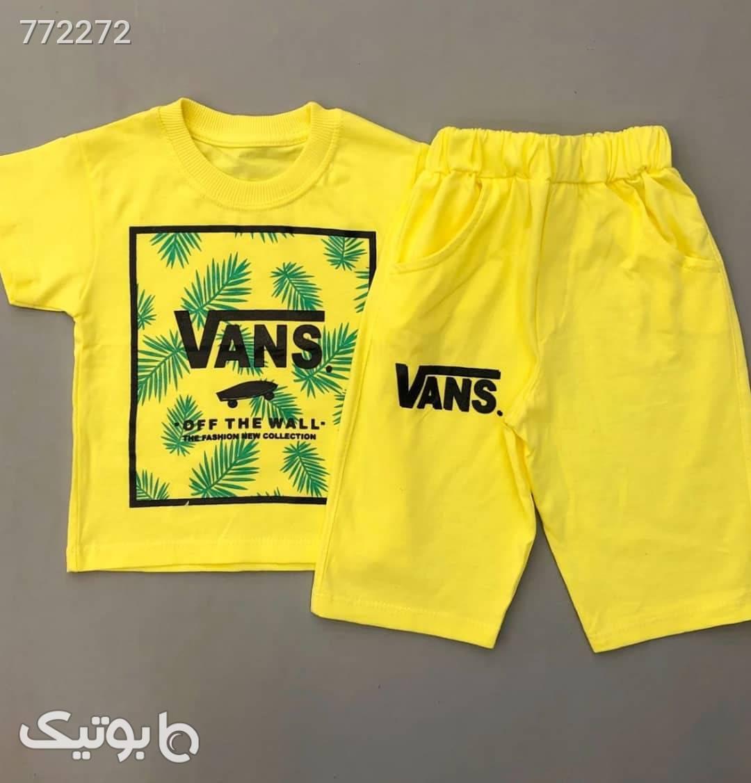 بلوز شلوارک vans هاوایی  زرد لباس کودک پسرانه