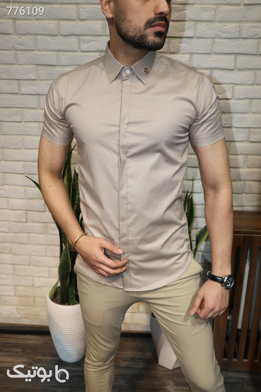 پیراهن آستین کوتاه مردانه کرم پيراهن مردانه